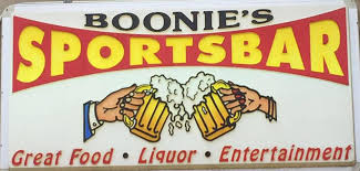 Boonie's Sports Bar logo with multicolored lettering and symbols on a white background