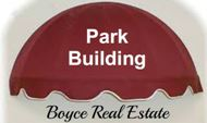 Image of Boyce Real Estate logo red awning symbol and white and black lettering on a gray background