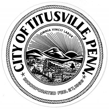 City of Titusville logo with black seal and lettering on a white background