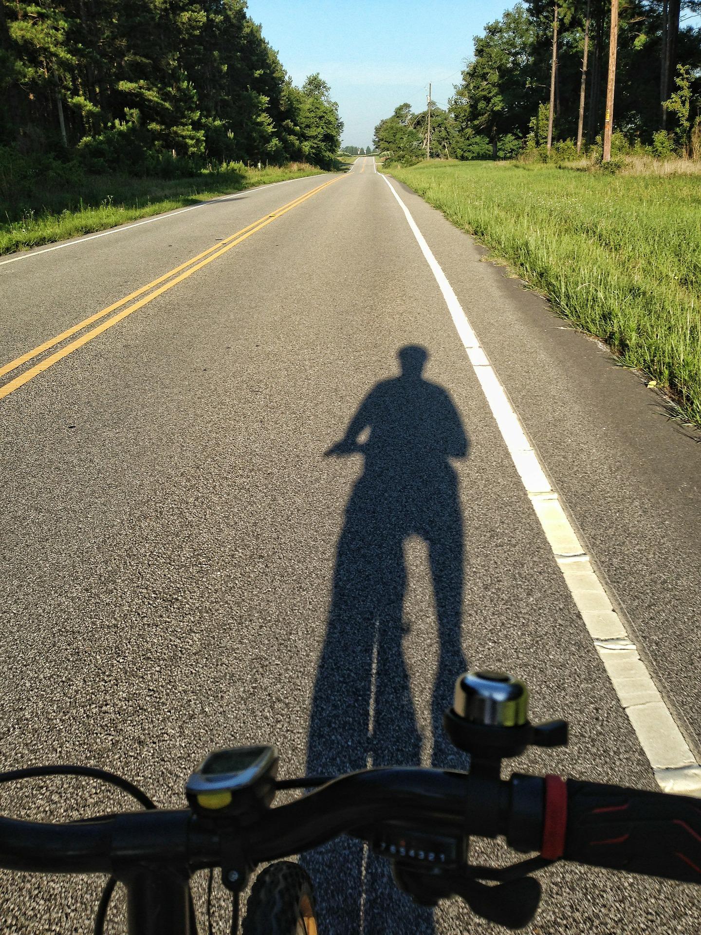Shadow of a cyclist