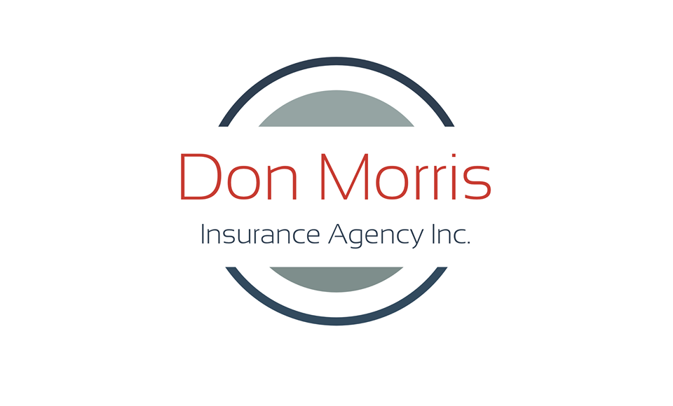 Image of Don Morris Insurance logo with black circle and red and black lettering and white background