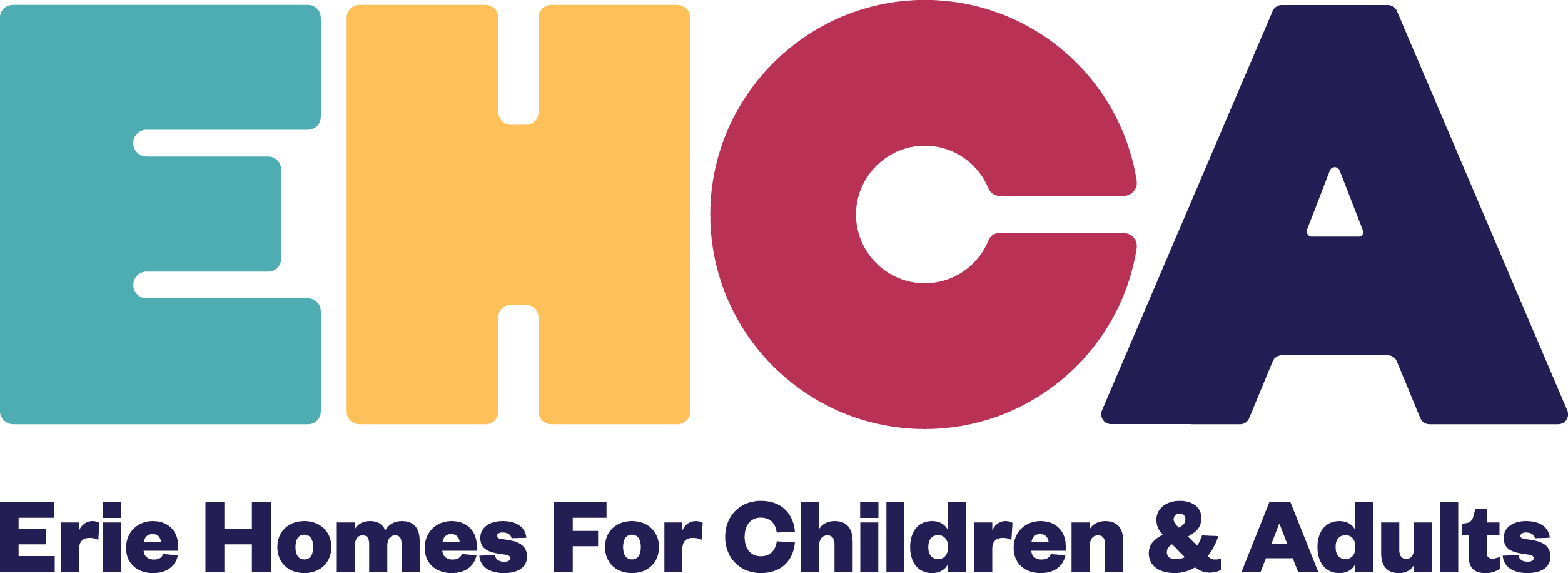 Image of Erie Homes for Children & Adults (EHCA) multicolored logo on transparent background