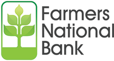 Image of Farmers National Bank logo with green tree symbol and black lettering on transparent background