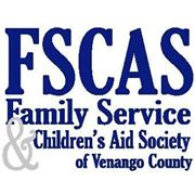 Image of Family Service and Children's Aid Society logo with blue lettering and white background