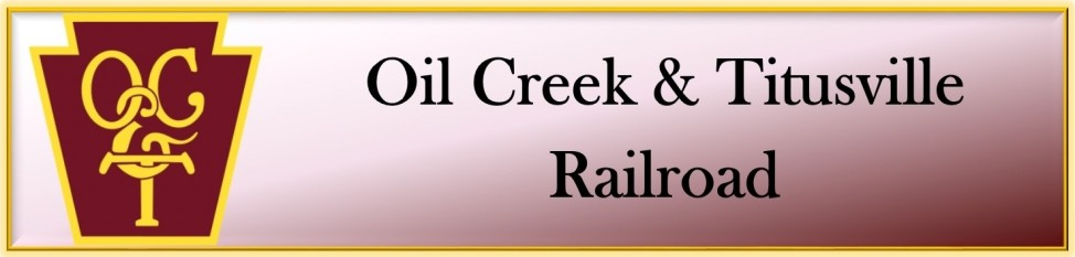 Oil Creek & Titusville Railroad logo with keystone OC&T symbol and red gradient background framed in yellow