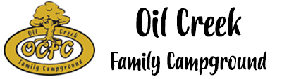 Image of Oil Creek Family Campground logo with gold symbol, black lettering and white background