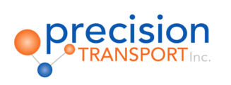 Image of Precision Transport Inc. logo with blue and orange lettering on white background