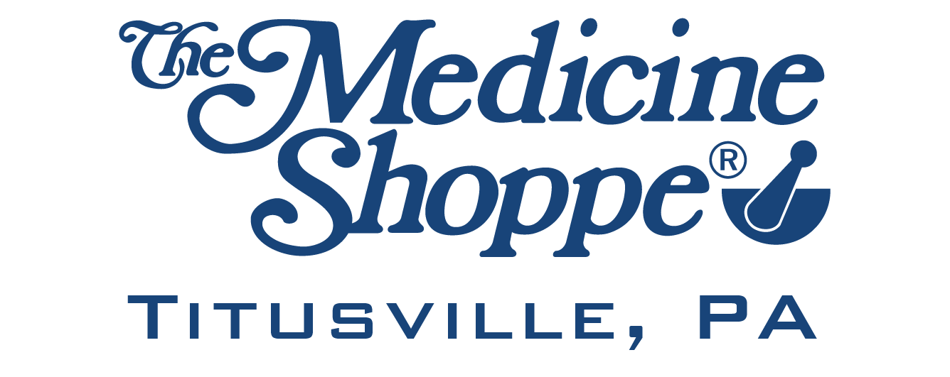 Image of The Medicine Shoppe logo with blue lettering and transparent background