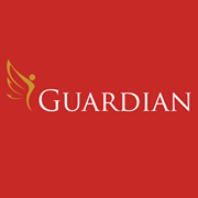 Image of Guardian logo with gold angel and red background