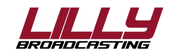 Image of Lilly Broadcasting logo with red and black letters on white background