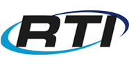 Image of RTI logo with blue and black swirl and black lettering on a white background