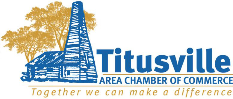 Image of Titusville Area Chamber of Commerce logo with Blue Drake Well and Golden trees behind the well and with slogan of Together we can make a difference