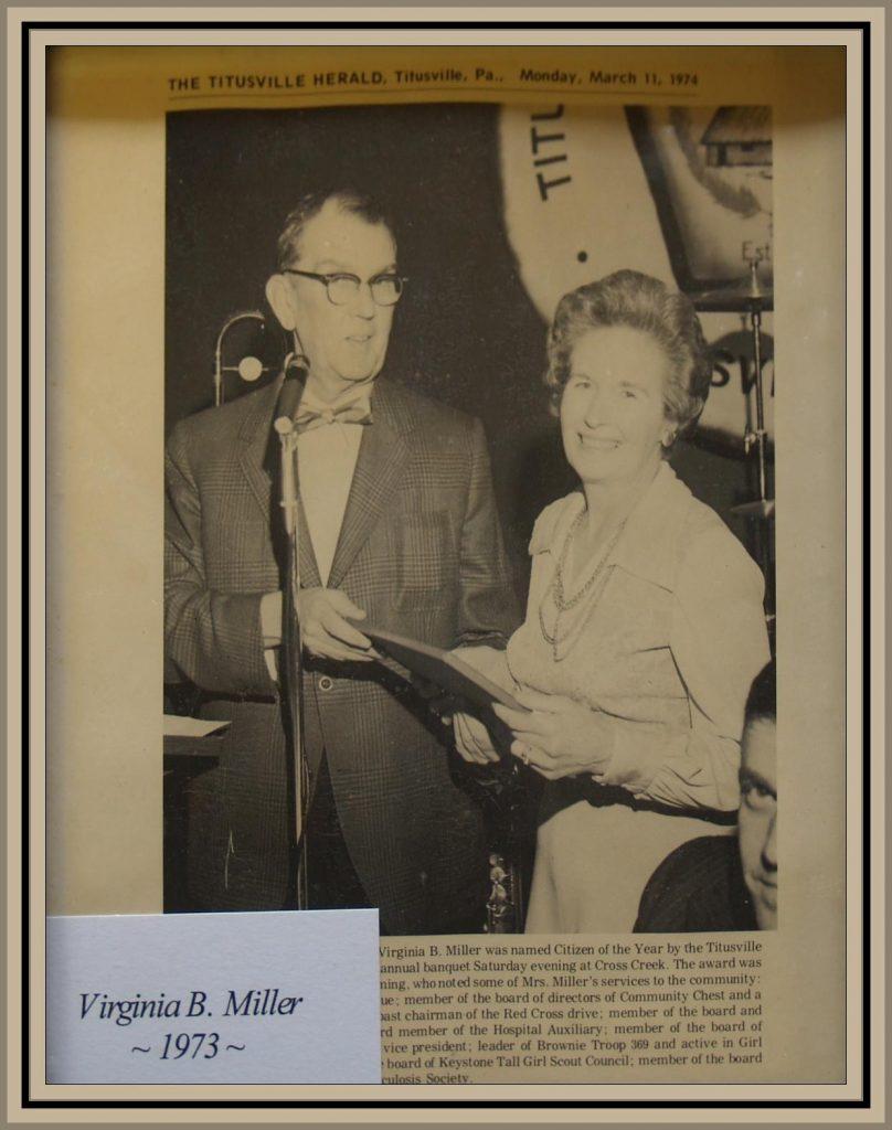 1973 Titusville Citizen of the Year - Virginia Miller
